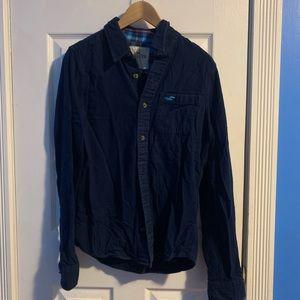 Hollister button down flannel shirt navy